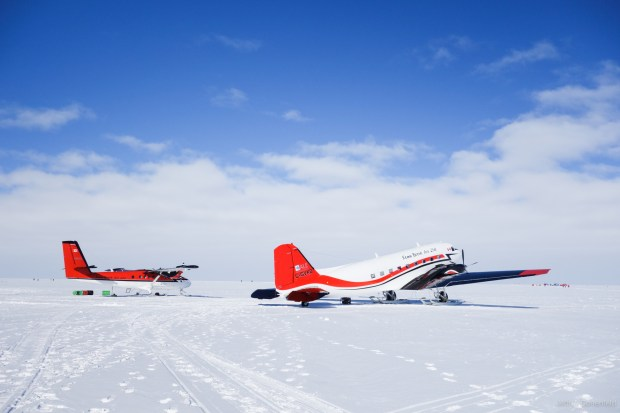 A DHC Twin Otter and DC-3 Basler, operated by Ken Borek Air.