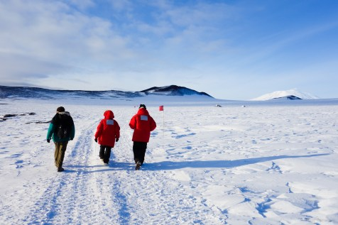 Hiking the Castle Rock Trail at McMurdo Station.
