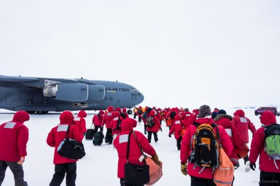 Finally leaving the ice on an Air Force C-17 Globemaster III. Read more about my experiences in Antarctica at https://JeffreyDonenfeld.com/Antarctica and contact me at Jeffrey@JeffreyDonenfeld.com .