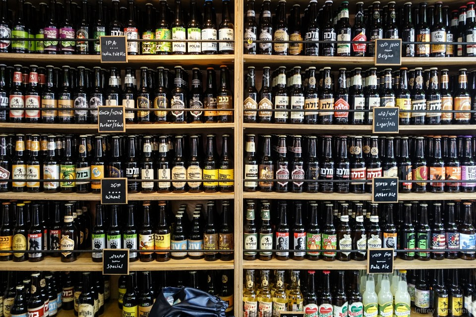 Every hebrew beer imaginable, available at the Mahane Yehuda Market, Jerusalem
