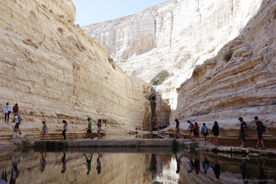 Waterfalls are a rare treat in the desert canyons of Southern Israel.