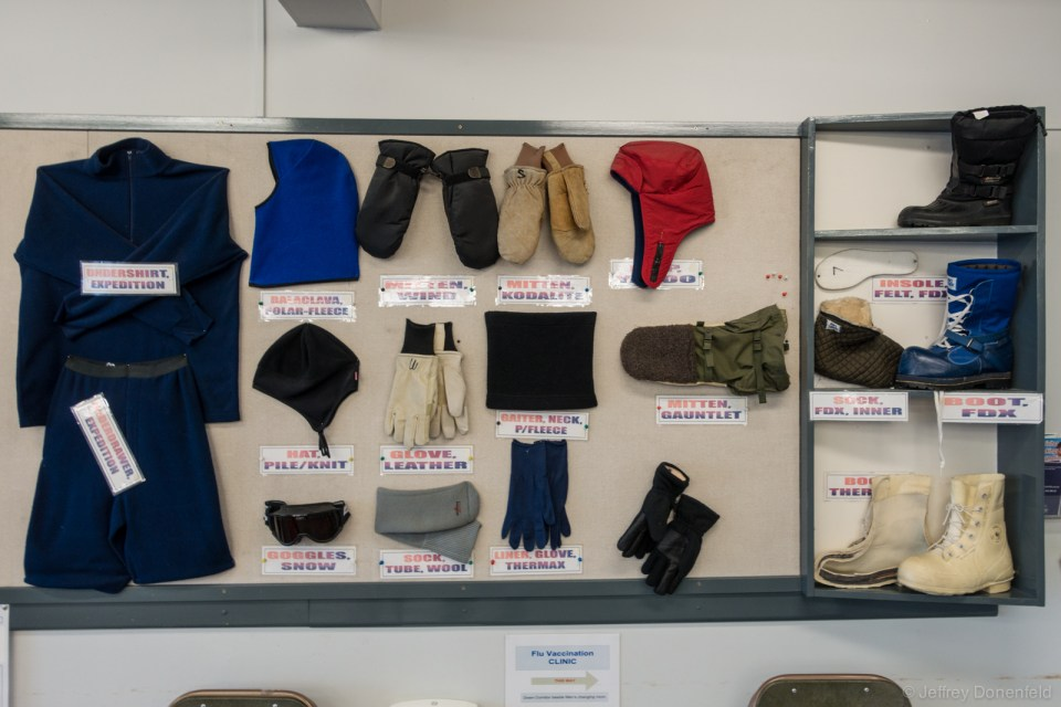 "United States Antarctic Program standard issue Extreme Cold Weather gear issue, laid out for explanation. The white boots are called ""bunny boots""."