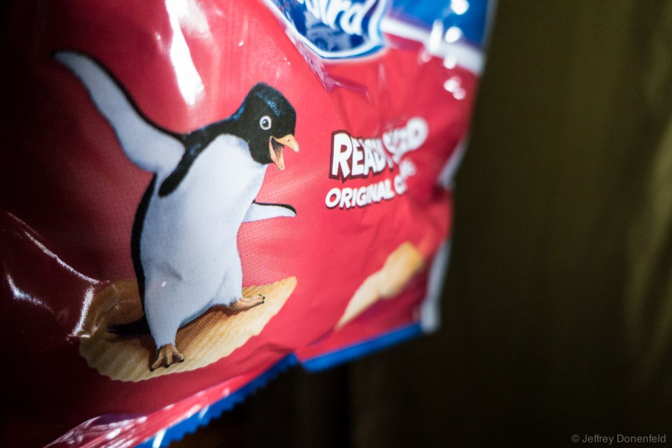 No food cart, but we do get brown bag lunches onboard, including super cute Penguin chips! Sorry, no BBQ flavor. ;)