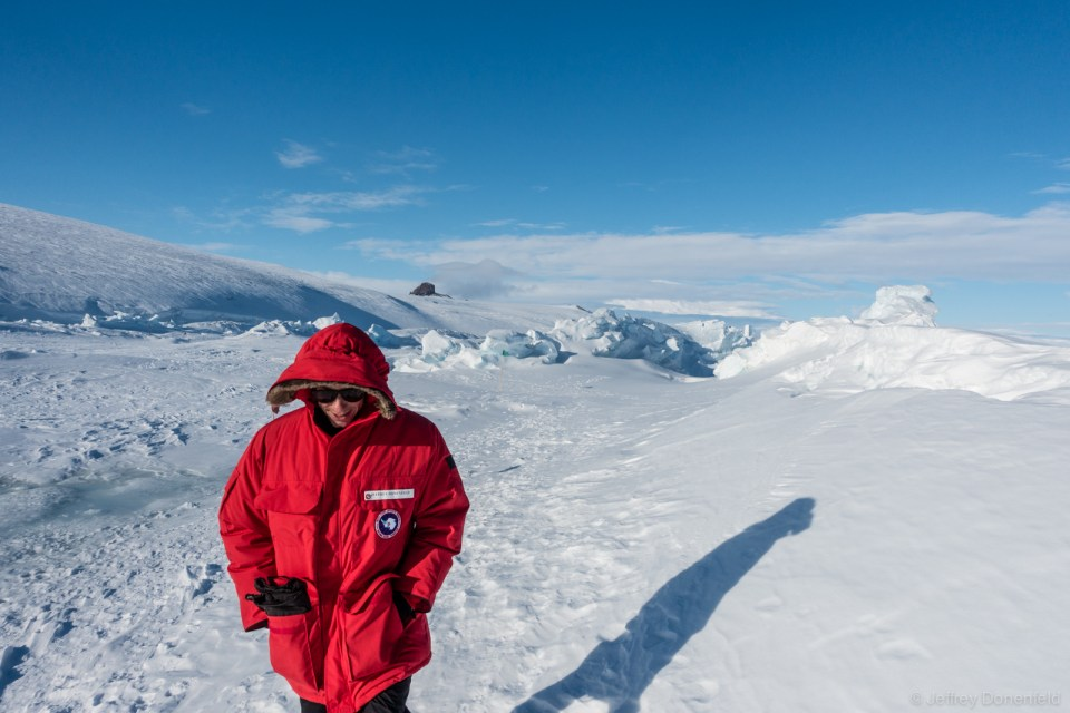 Jeffrey Donenfeld exploring the Sea Ice Pressure Ridges surrounding Scott Base, Antarctica