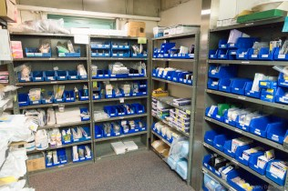 Stock room, with lots of medical supplies.