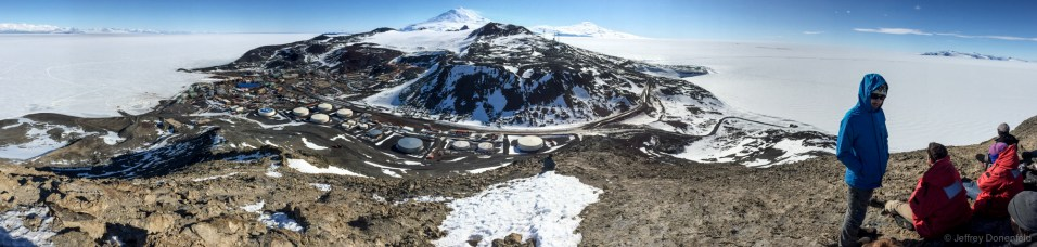 The view from Observation hill into McMurdo Station, Antarctica. This is most of town, although there are a few other faciliites around the corners.