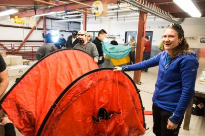 Going over the basics of setting up both our main tents, as well as the tents contained in deep field survival bags, which are supplied on aircraft and as backups at field camp.
