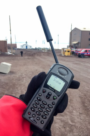 Most science teams have their own dedicated Iridium Satellite Phone. It's quite convenient, and in Antarctica the connection is great.