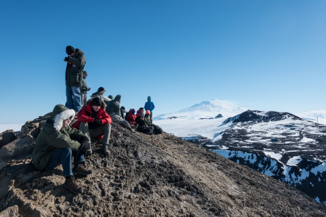 Hanging out on the top of Observation hill, awaiting the soon-to-be-cancelled Long Duration Balloon Launch. visible in the background is Mt/. Erebus, as well as the beginning of Mt. Terra Nova.