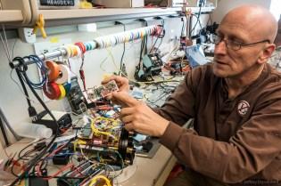 Scientist Bob Zook explains the inner workings of his deep sea probe.