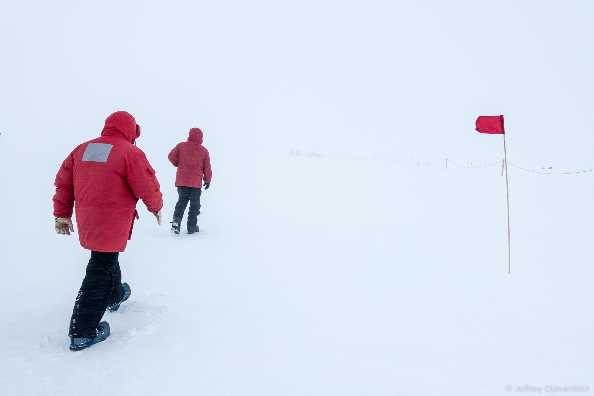 Walking back to WAIS DIvide Field Camp after a day working in teh drill arch. On days of low visibility, flags are the only way to tell which way to walk - and where the ground is.