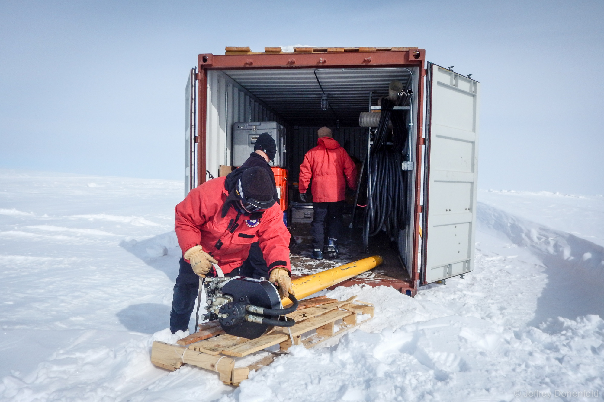 The shipping container was located on the surface a short ways from the drill arch, and was packed with a variety of loose gear.