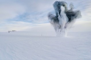An explosion of PETN explosives. These explosives were disposed of by being blown up, rather than hazardous transport back to McMurdo.