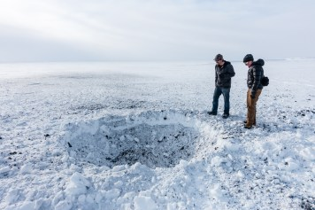 The crater left by a PETN disposal explosion.