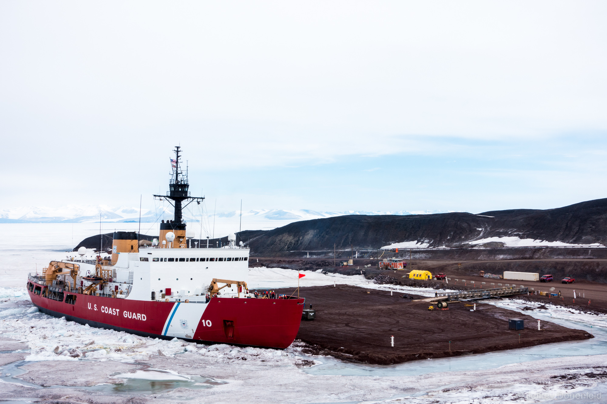 """The US Coast Guard Cutter """"Polar Star"""", the world's most powerful non-nuclear icebreaker, in port at McMurdo Station, Antarctica."""