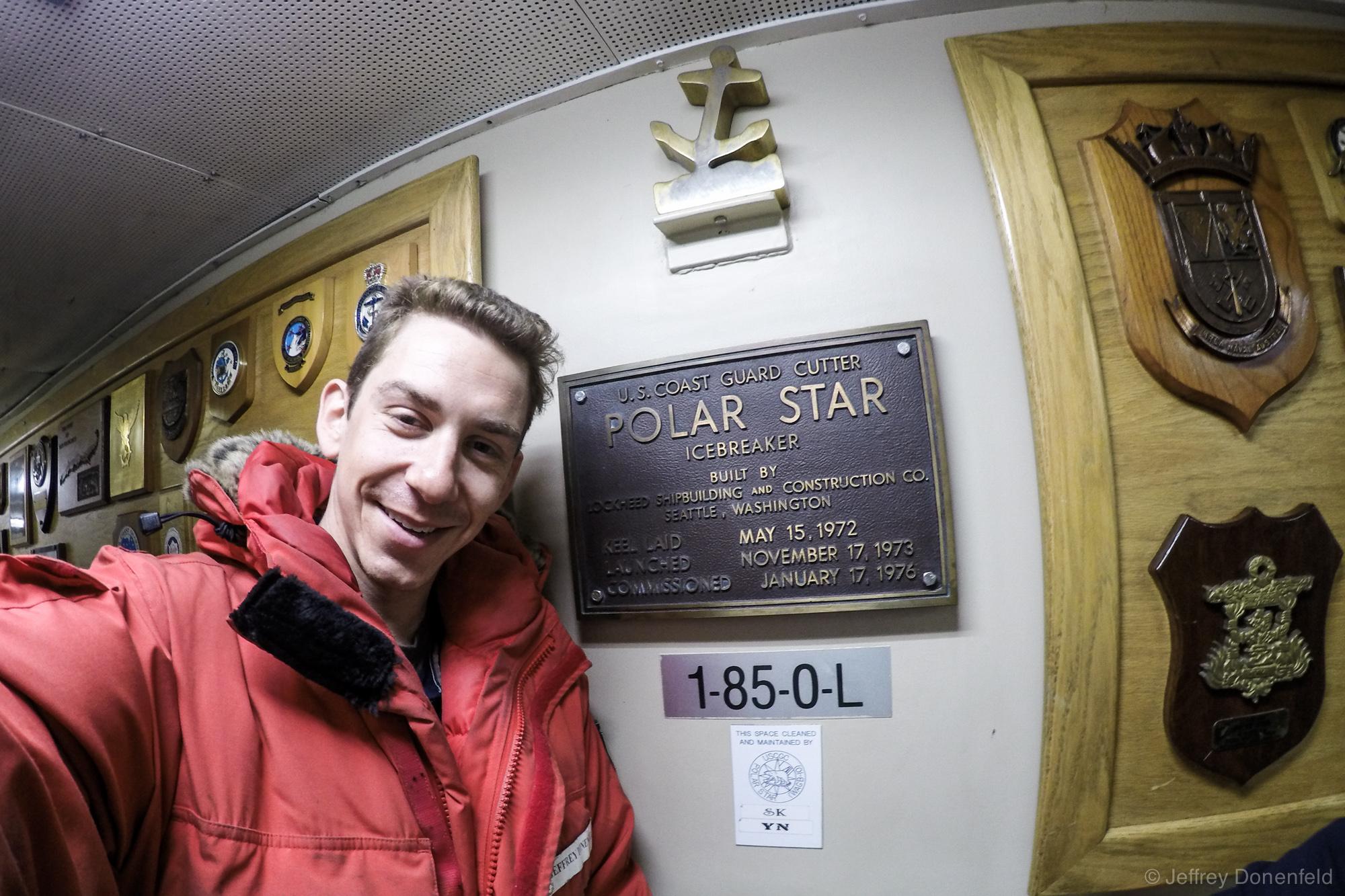 The USCGC Polar Star Icebreaker ship commissioning plaque.