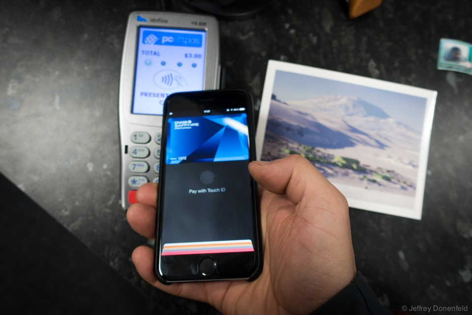 "At Scott Base, they have a credit card reader which does ""Visa Paywave"" and other contactless payments  - including working with Apple Pay. I did this Apple Pay transaction on 2014-12-10, and the guy who worked in the store that season said that he had never seen an Apple Pay transaction in their shop yet - so that makes me believe that this is the very first Antarctic Apple Pay transaction.. cool!"