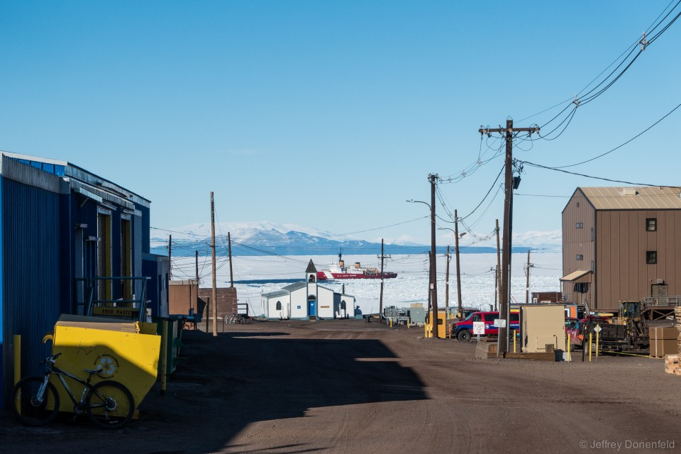 "At the end of January, once I had returned back to McMurdo after a few weeks at WAIS, I notice the US Coast Guard Ice Breaker ""Polar Star"" cutting its way through the ice to McMurdo."