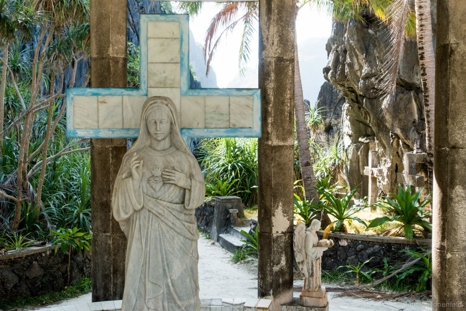 Discovering abandoned religious statues at an abandoned jungle convent.