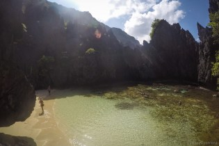 One of the hidden beaches - this beach is only accessible by swimming through a small underwater tunnel.