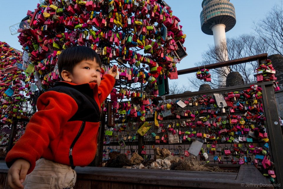 At the N Seoul Tower, couples fasten locks to the railings in commemmoration of their love. Entire areas are setup for these locks, as are lots of other couples places. As I was touring Seoul, I noticed an overwhelming amount of pro-relationship and family messaging, and lots of places setup as ideal date spots, encouraging Korean couples to get and stay together. Happy couples everywhere!