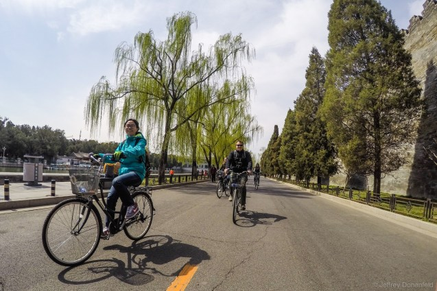 On our bikes cruising along the outer wall of the Forbidden City.