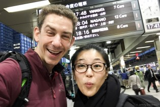 Saori and I were introduced by a mutual friend, and met up in Tokyo at the main Tokyo train station. To save on time, and have an awesome ride, we took a Shinkansen bullet train from Tokyo to Nagano - fast and comfortable!