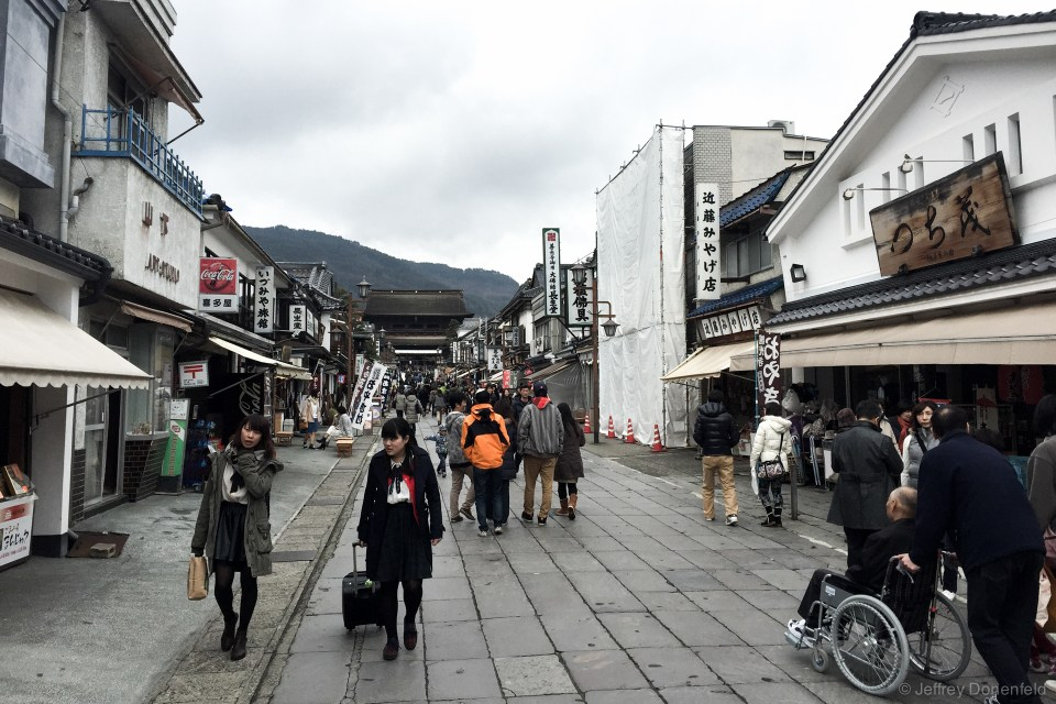 The pathway leading to the Zenkoji Temple is crowded with vendors and restaurtants - but is a nice walk nontheless.
