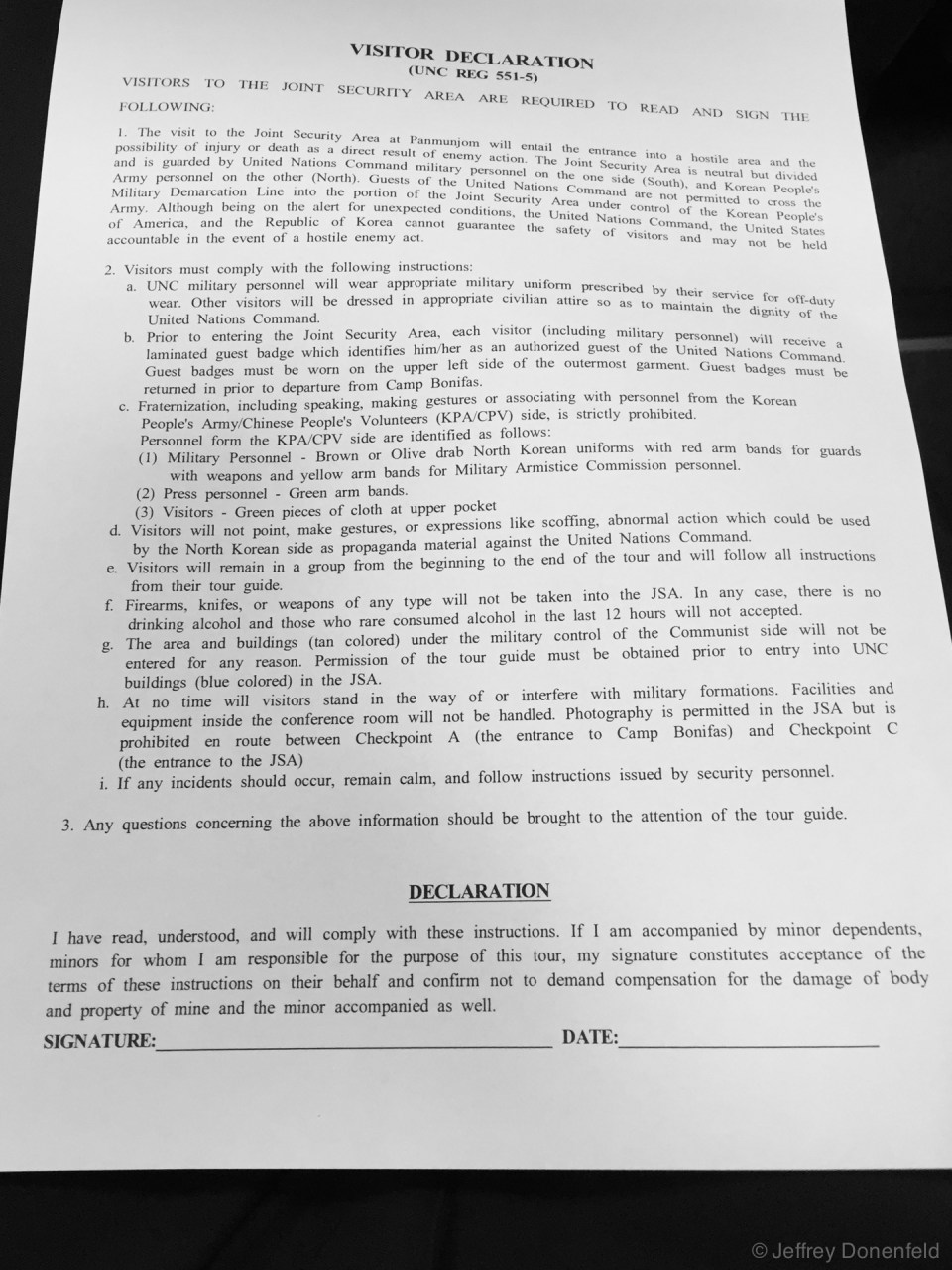 "Entering the Joint Security Area of the north/south korea DMZ, we were required to sign disclaimer forms. Reading this over another few times, it's intersting to see the amount of ""spin"" layered even onto this ""official"" form. Very interesting."