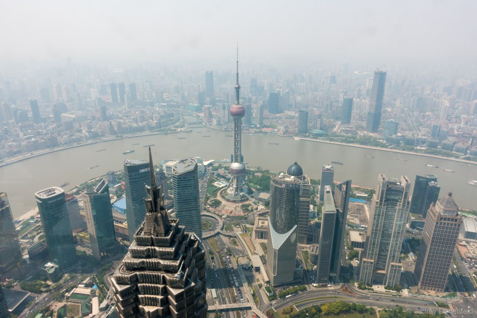 The view from the worlds highest observation deck - 474 meters in the Shanghai World Financial Center.