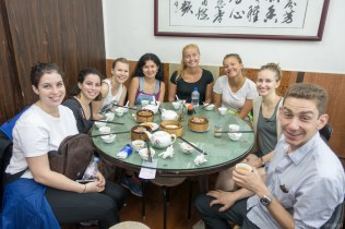 Dim Sum with a ground of friends from the Check Inn Hostel, let by owner Wincent.