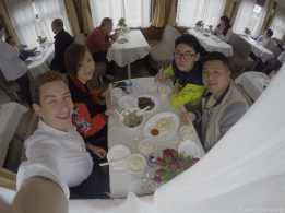 Lunch in the dining car with my new friends.