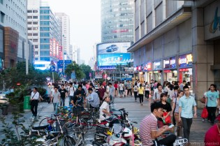 Outsize of the Huaqiangbei electronics markets, vendors take a break with some snacks.