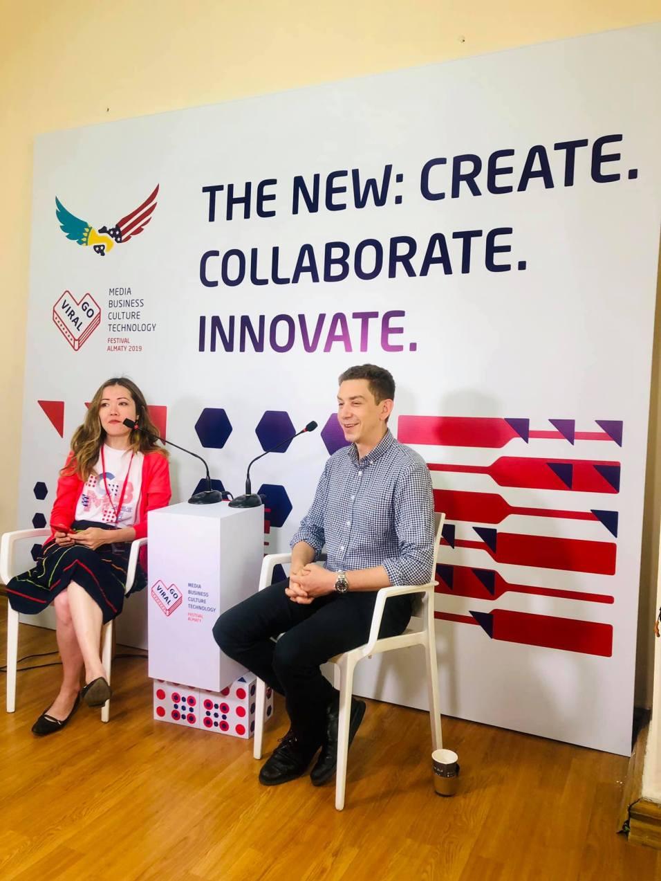 Jeffrey Donenfeld and Aliya Shaykina at GoViral Almaty Interview 2