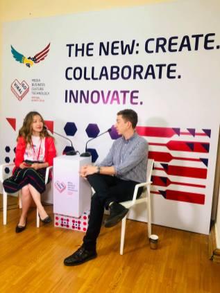 Jeffrey Donenfeld and Aliya Shaykina at GoViral Almaty Interview 3