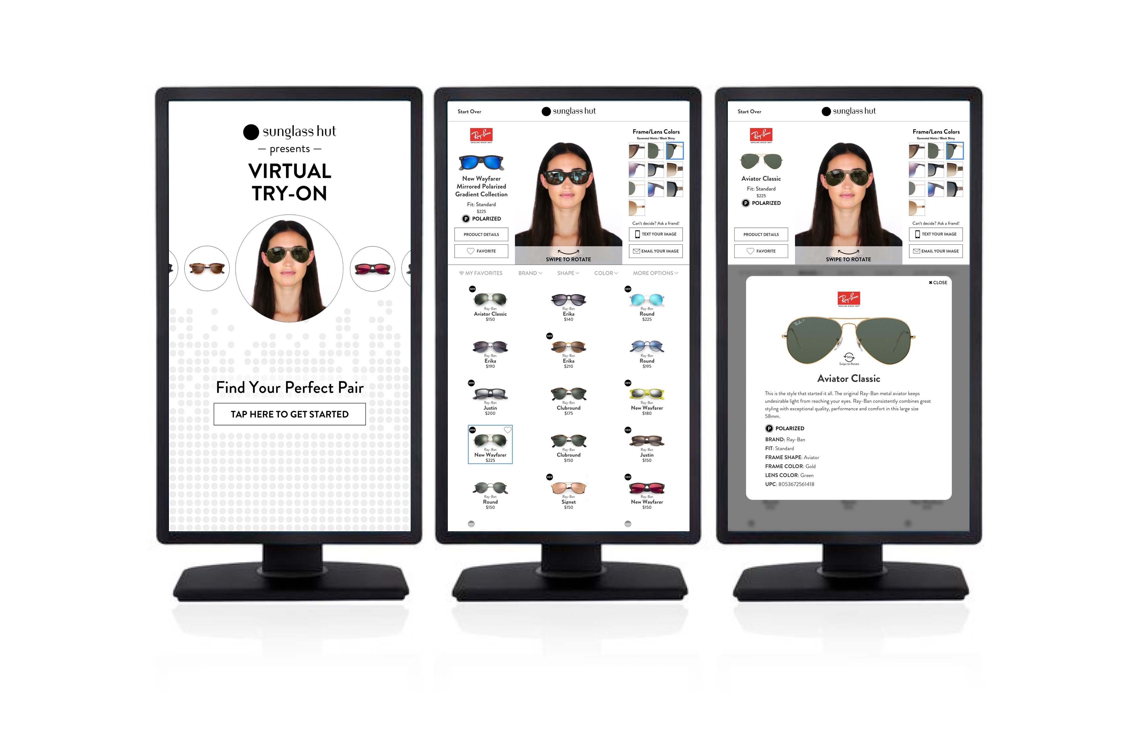 Sunglass Hut VTO Kiosk – 3-screens