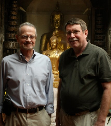 Don Swearer and Jeff Lott at Wat Umong, near Chiang Mai, Thailand, February 2011