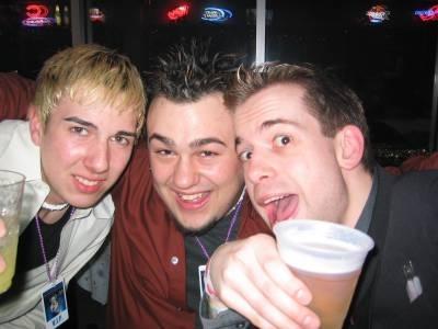 """New Years 2002 at The Big Bang! Cory Miles, Will """"Intern Bill"""" Calder & Jeffro."""