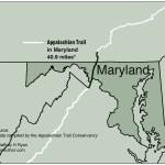 Map of Appalachian Trail in Maryland from Appalachian Odyssey: A 28-year Hike on America's Trail. Copyright 2016, Jeffrey H. Ryan.