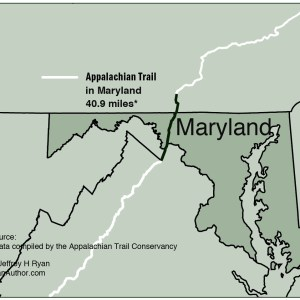 Map of Appalachian Trail in Maryland from Appalachian Odyssey: A 28-year Hike on America's Trail. Copyright 2016, Jeffrey H. Ryan.