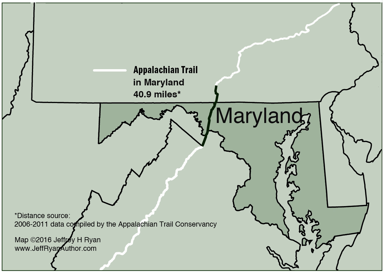 Map of Appalachian Trail in Maryland - Jeff Ryan, Author ...