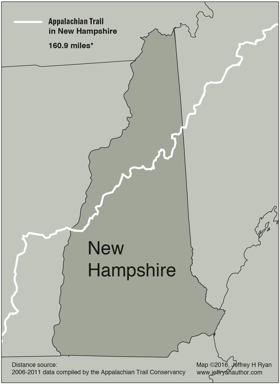 Map of Appalachian Trail in New Hampshire - Jeff Ryan, Author & Speaker