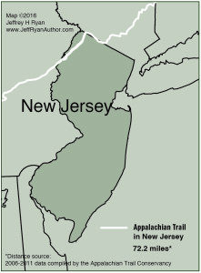 Map of Appalachian Trail in New Jersey from Appalachian Odyssey: A 28-year Hike on America's Trail. Copyright 2016, Jeffrey H. Ryan.