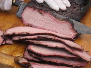 The brisket: Excellent smoke ring.