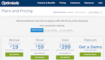 optimizely multi year price example