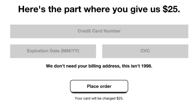 cards against humanity credit card form