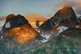 Dawn Breaking on Snowpatch and Bugaboo Peaks