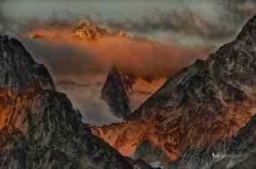 Howser Towers between Snowpatch and Bugaboo Peaks at Dawn.