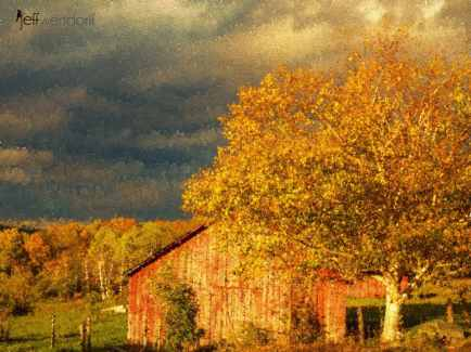 Stormy Weather Vermont Farm painted with Topaz Impression - Pointilism II