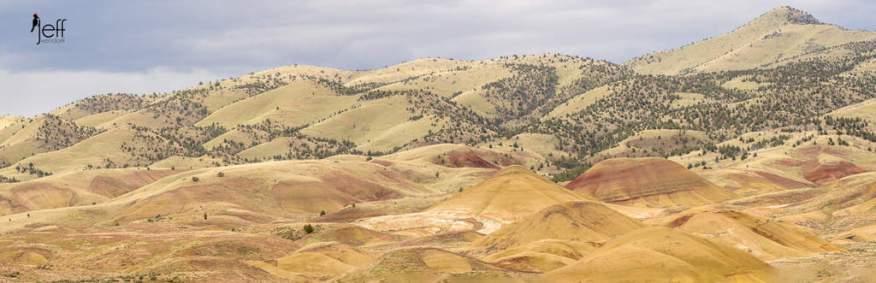 Panoramic view of the Painted Hills from the Painted Cove Trail photographed by Jeff Wendorff